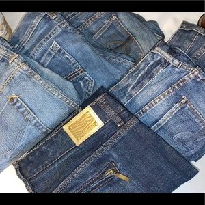 Bundle of six, size 4 Express jeans, several cuts